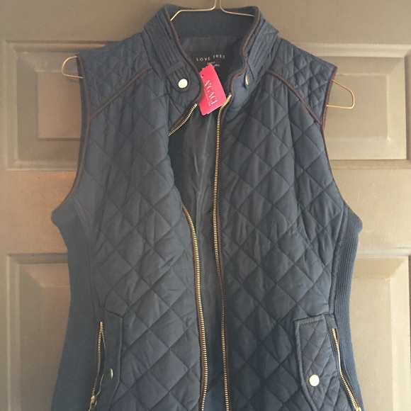Jackets & Blazers - Navy Blue Quilted Vest